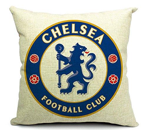 East Melody® Cotton Linen Throw Pillow Case Cushion Cover Home Sofa Decorative 18 X 18 Inches / 45 X 45 cm, Football Club Badge (Chelsea) (Chelsea Football Badge)