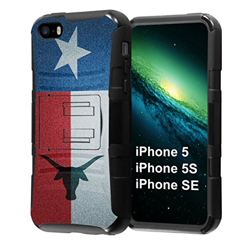 iPhone SE Case, Capsule-Case Hybrid Dual Layer Combat Full Armor Style Kickstand Case with Holster Combo (Black) for iPhone SE/iPhone 5s / iPhone 5 - (TX Texas Flag)