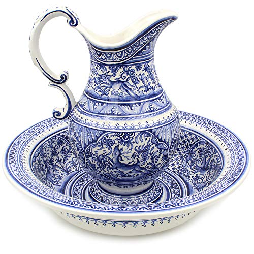 Madeira House Coimbra Ceramics Hand-Painted Wash Basin with Pitcher XVII Cent Recreation #109-2
