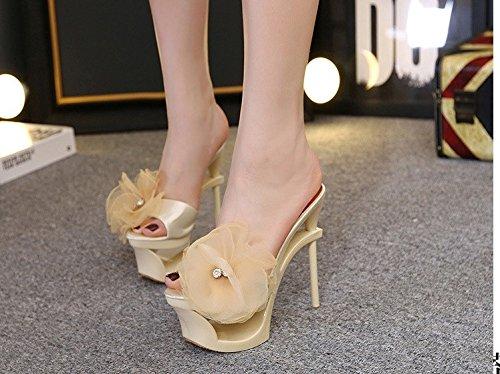 XiaoGao Cool zapatillas Tacon De fino albaricoque de 15 tacones cm taladro flor color agua super de rrTxFU