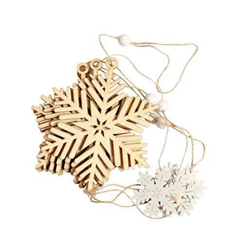 Inverlee 5Pcs Christmas Wood Chip String Xmas Tree Ornaments Hanging Pendant Decoration Gifts (B, One Size) Chips String