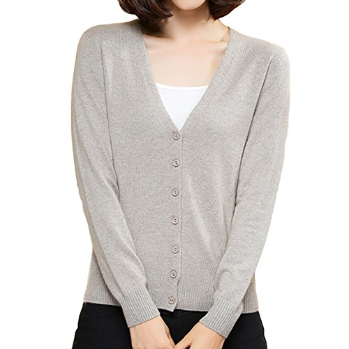 - Jianai Women's Cashmere Blend Cardigan Soft Knitted Long Sleeve V Neck Sweater (Small, Camel)