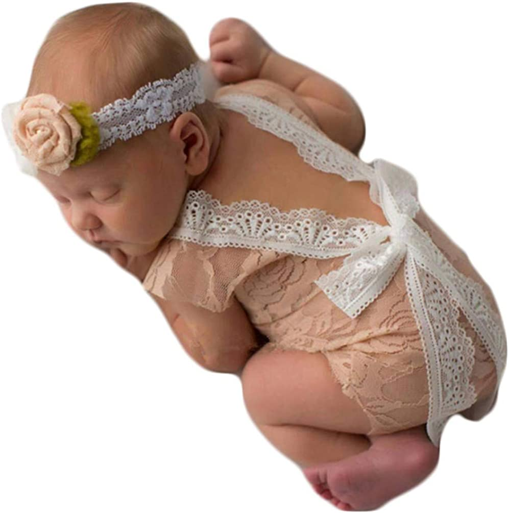 ISOCUTE Newborn Baby Girls Photography Props Photo Shoot Outfits Lace Romper