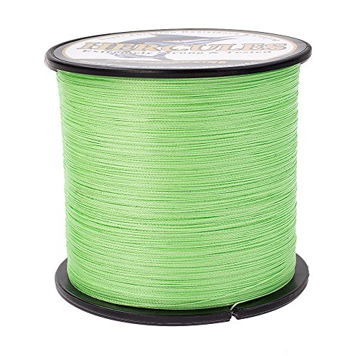 HERCULES Super Strong 1000M 1094 Yards Braided Fishing Line 40 LB Test for Saltwater Freshwater PE Braid Fish Lines 4 Strands - Fluorescent Green, 40LB (18.1KG), 0.32MM