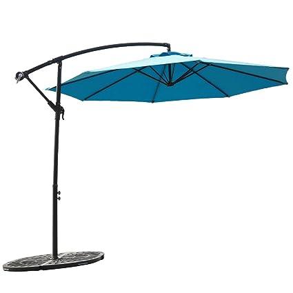 FLAMEu0026SHADE 10u0027 Hanging Offset Outdoor Umbrella, Cantilever Patio Umbrella  With Cross Base, Crank