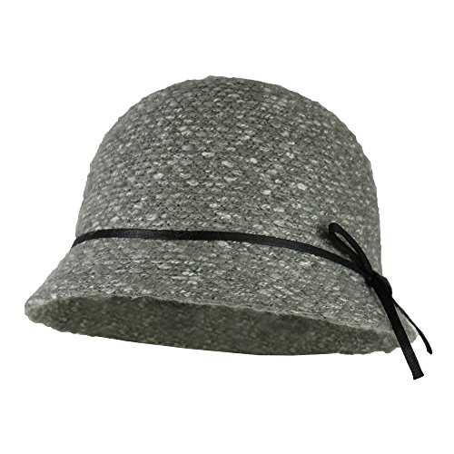 Grey Tweed Knit Bucket Cloche Hat w/ Ribbon Bow – Marled Nubby Knitted Cap (Tweed Knit)