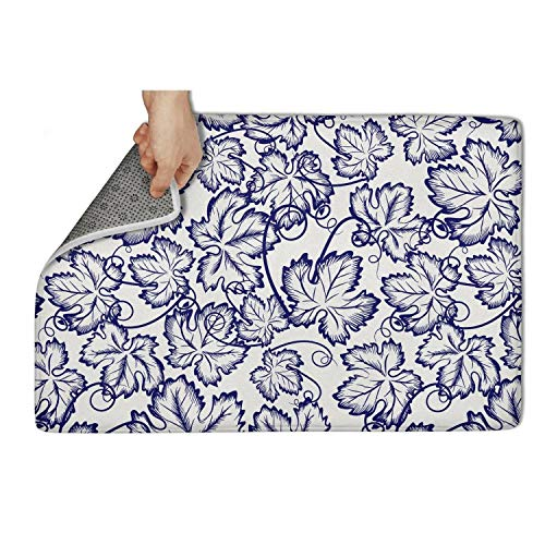 """Yiastia_Minyi Indoor Outdoor Doormat Pattern with Grapes Leaves Absorbent Moisture PVC Backing Entrance Rug Non Slip Door Mat 23.5""""x15.5"""""""