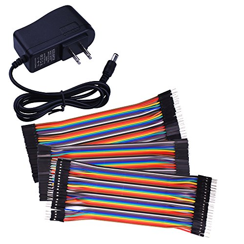 for Arduino starter kit Longruner Power Supply Wall Adapter 9V AC to DC 1A + 120pcs Multicolored Jumper Wires Ribbon Cable 40pin Male to Female 40pin Male to Male 40pin Female to Female K72