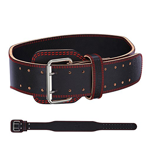 Weight Lifting Belt Powerlifting Belt with Lifting Equipment Weightlifting Belt Body Building Lifting Belt Power Weight Lifting Belt Squat Belt Leather Weightlifting Belt leather (Black/Red, X-Large)