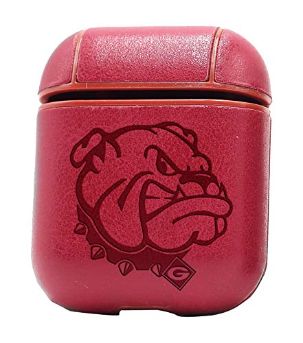 Logo Georgia Bulldogs (Vintage Pink) Air Pods Protective Leather Case Cover - a New Class of Luxury to Your AirPods - Premium PU Leather and Handmade exquisitely by Master Craftsmen