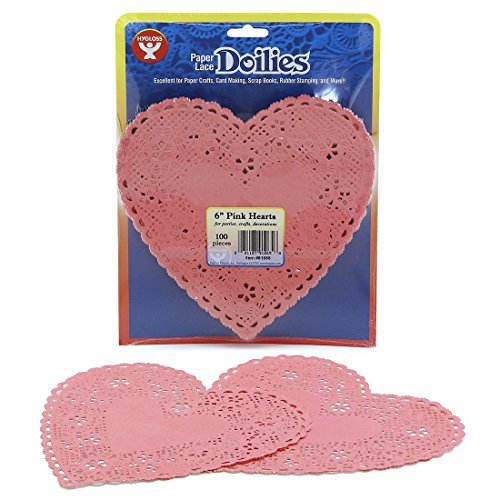 (Hygloss Products Heart Paper Doilies – 6 Inch Pink Lace Doily for Decorations, Crafts, Parties, 100)