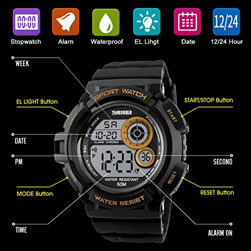 Men's Digital Sports Watch LED Screen Large Face Military Watches and Waterproof Casual Luminous Stopwatch Alarm Simple Army Watch Black by USWAT (Image #4)