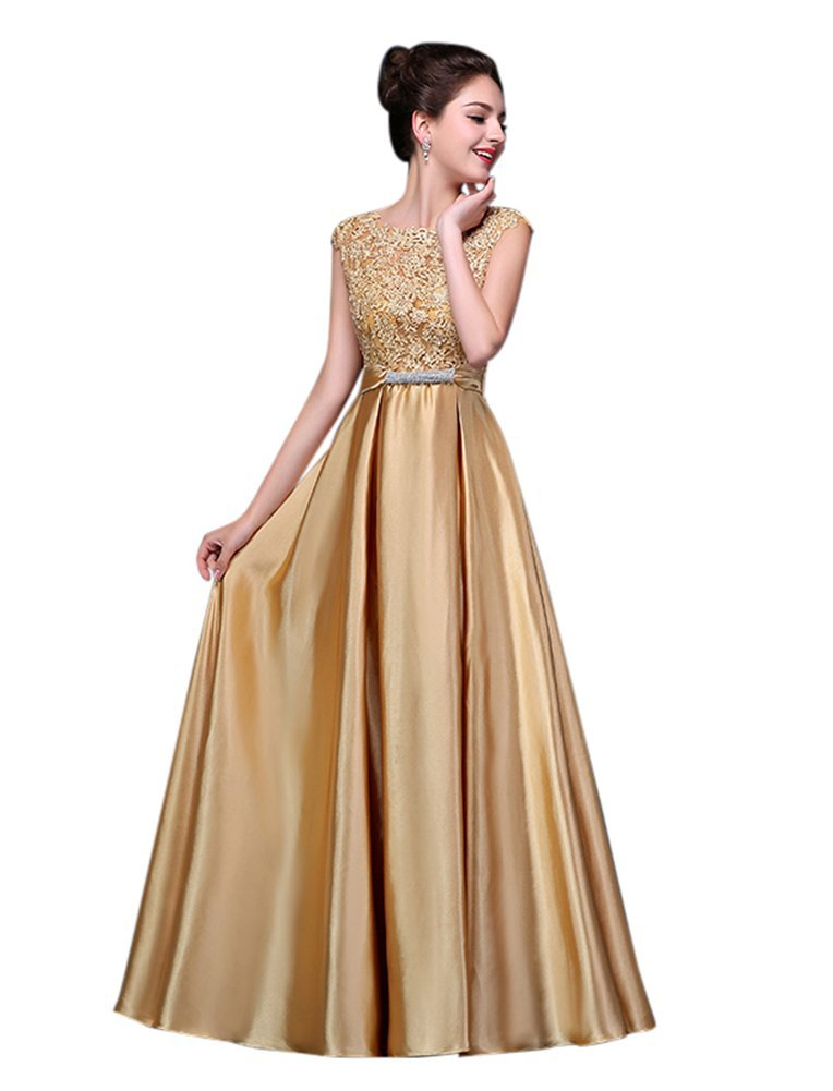 DRASAWEE Women Long Satin Bridal Dress Lace Prom Party Formal Gowns Gold US16