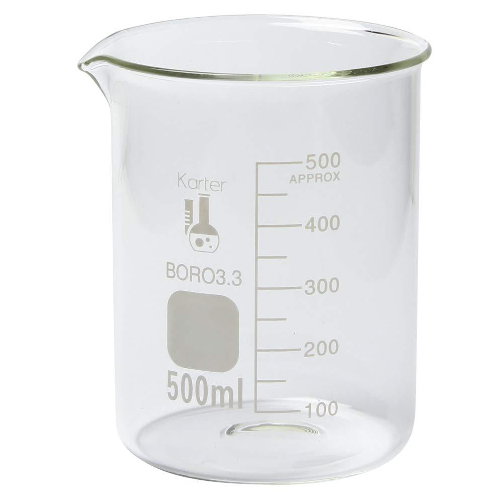 213D26 Karter Scientific 500ml Glass Low Form Griffin Beaker