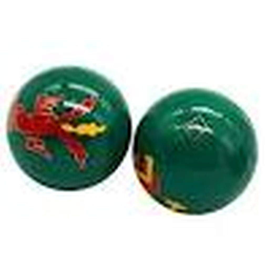 Chinese Health Balls with Chimes and Dragon//Phoenix Symbols on a Green Background; 4.5cm Diameter