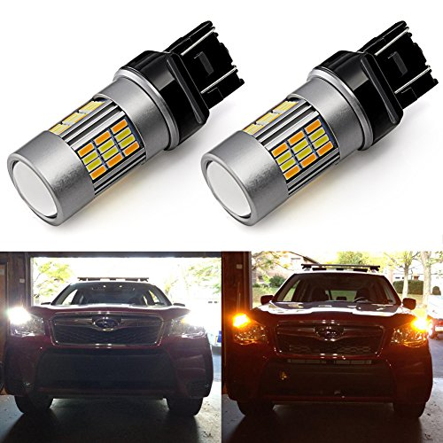 (ENDPAGE 7443 7443LL 7444NA T20 White/Amber Switchback LED Bulb, 2-pack, Super Bright, 62-SMD with Projector Lens, Xenon White for Daytime Running Light/Parking Light, Yellow for Turn Signal Lights)