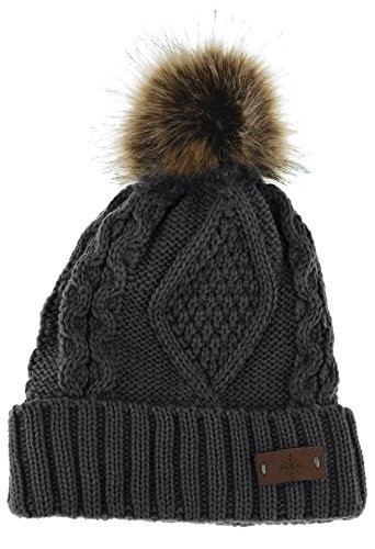 ANGELA & WILLIAM Women's Faux Fur Pom Pom Fleece Lined Knitted Slouchy Beanie Hat (Dark Gray)