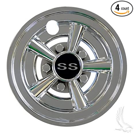 Image Unavailable. Image not available for. Color  Golf Cart Wheel Covers  SS Style Chrome Set of 4 Hubcaps e43e9860705d