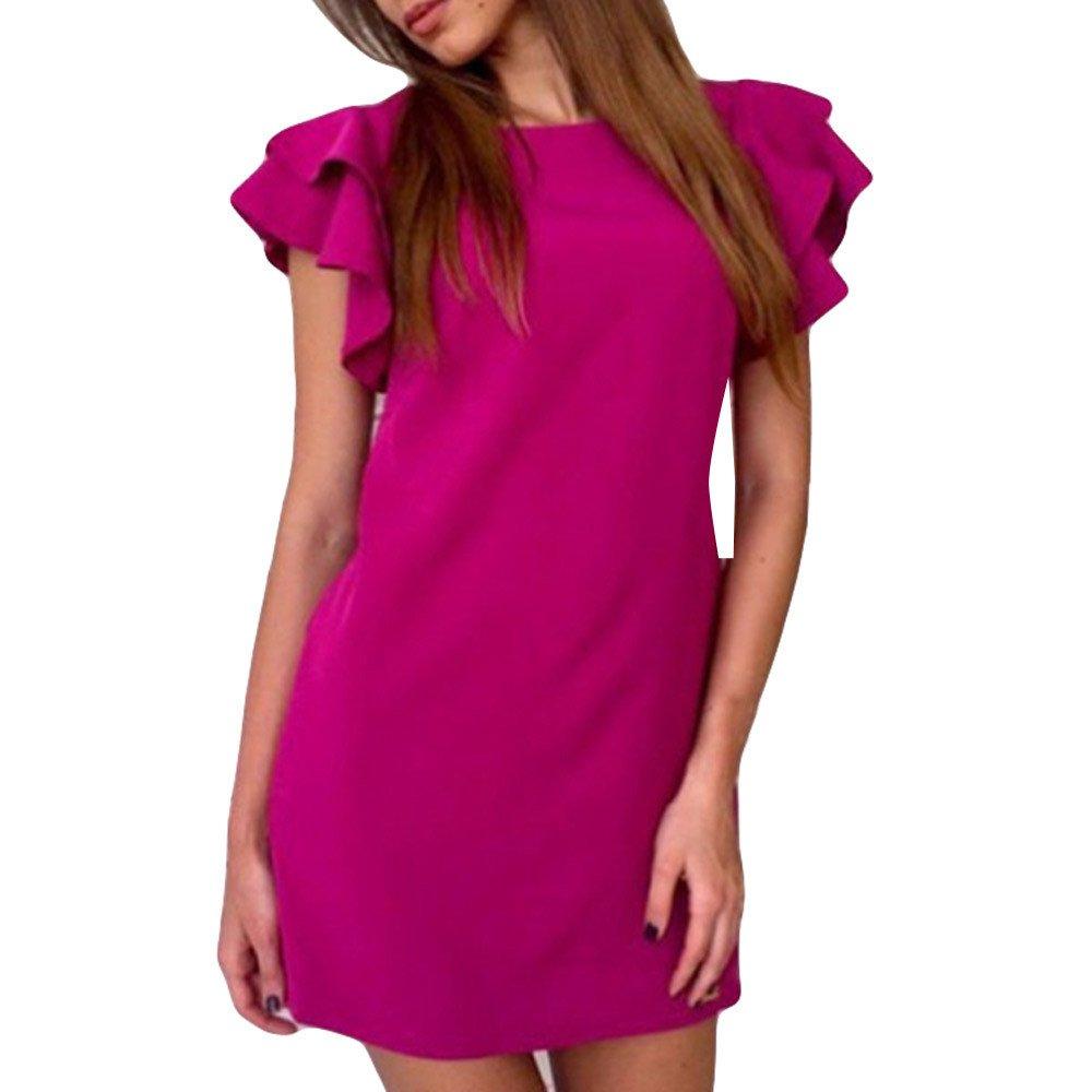 iLUGU O-Neck Sleeveless Mini Dress for Women Solid Color Straight Dress Maternity Dress Hot Pink