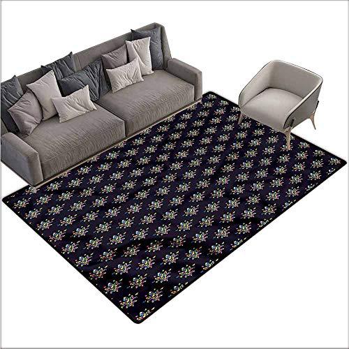 - Non-Slip Modern Carpet Fleur de Lis,Geometric French Lily 60