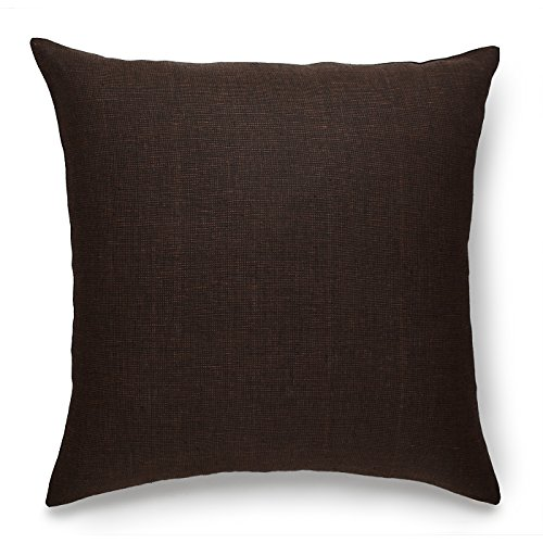 Throw Chocolate Pillow (Solino Home 100% Pure Linen Pillow Cover Case Athena, Linen Decorative Square Cushion covers, Throw pillowcases, 20 x 20 Inch Chocolate Cushion Cover Case)