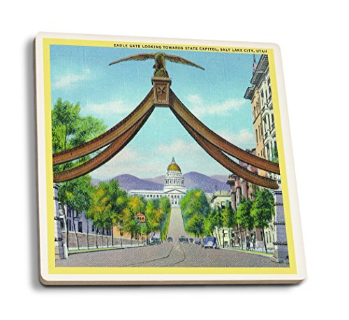 Lantern Press Salt Lake City, Utah - View of Eagle Gate Looking Towards The State Capitol (Set of 4 Ceramic Coasters - Cork-Backed, Absorbent)