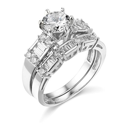 .925 Sterling Silver Rhodium Plated Wedding Engagement Ring and Wedding Band 2 Piece Set – Size 9