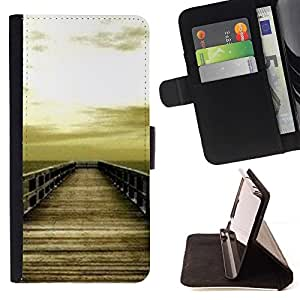 Momo Phone Case / Flip Funda de Cuero Case Cover - Golden Brown Dock Sea Sun Summer - HTC DESIRE 816