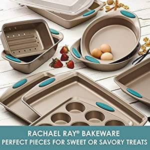 Rachael Ray 47578 Cucina Nonstick Bakeware Set with Grips includes Nonstick Bread Pan, Baking Sheet, Cookie Sheet, Baking Pans, Cake Pan and Muffin Pan – 10 Piece, Latte Brown with Agave Blue Grips