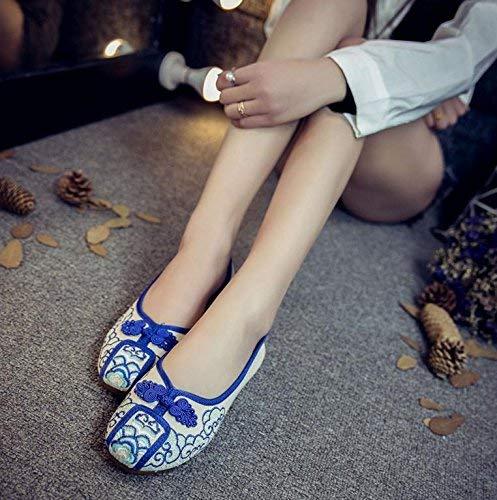 Fuxitoggo Bestickte Bestickte Bestickte Schuhe Sehnensohle ethnischer Stil weibliche Stoffschuhe Mode bequem lässig blau 36 (Farbe   - Größe   -) dbcbf3