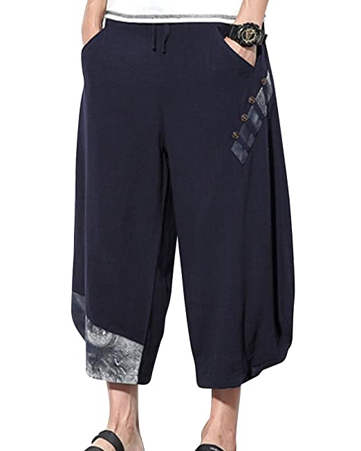 Pantalones Holgados del Harem del Estilo Nacional Ocasional De Los Hombres con Los Bolsillos NQ1leofLS