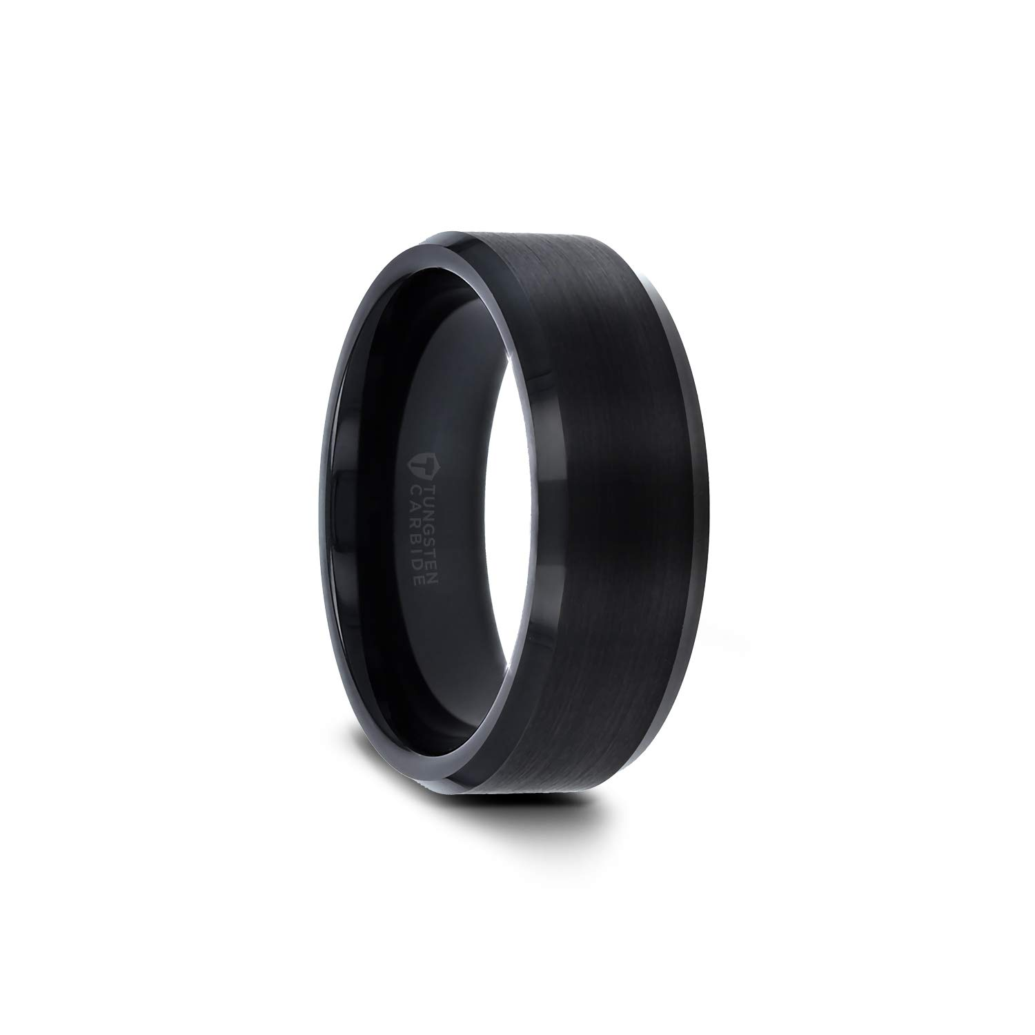 Elise Black Tungsten Wedding Ring Band with Polished Beveled Edges and Brush Finished Center - 6mm - 10mm (Tungsten-7mm, 10) by Thorsten Rings