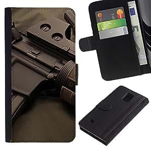 LASTONE PHONE CASE / Lujo Billetera de Cuero Caso del tirón Titular de la tarjeta Flip Carcasa Funda para Samsung Galaxy Note 4 SM-N910 / Assault rifles