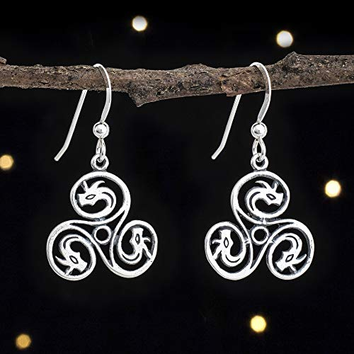 Triskele Dragon - Sterling Silver Celtic Dragon Triskelion Earrings - Double Sided - Solid .925 Sterling Silver, Ready to Ship