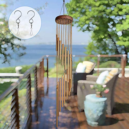 SuninYo Wind Chimes Outdoor36'' Amazing Grace Wind Chimes with S Hooka Quality Gift for Garden Patio Balcony and Indoor Decor18 TubesGolden
