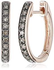 10k Rose Gold Brown Diamond Hoop Earrings(1/10cttw, I2-I3 Clarity)