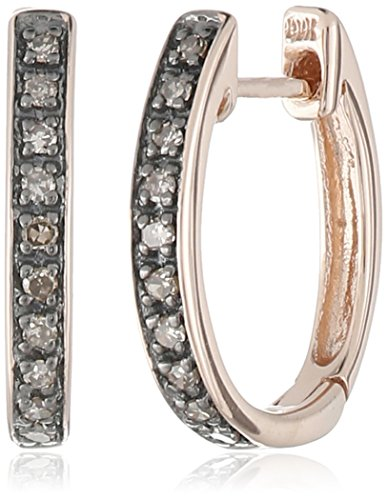 Brown Rose Earrings - 10k Rose Gold Brown Diamond Hoop Earrings(1/10cttw, I2-I3 Clarity)