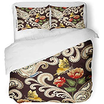 SanChic Duvet Cover Set Beige Swirls Paisley Festoons Decorated Red and Yellow Decorative Bedding Set with 2 Pillow Cases Full/Queen Size