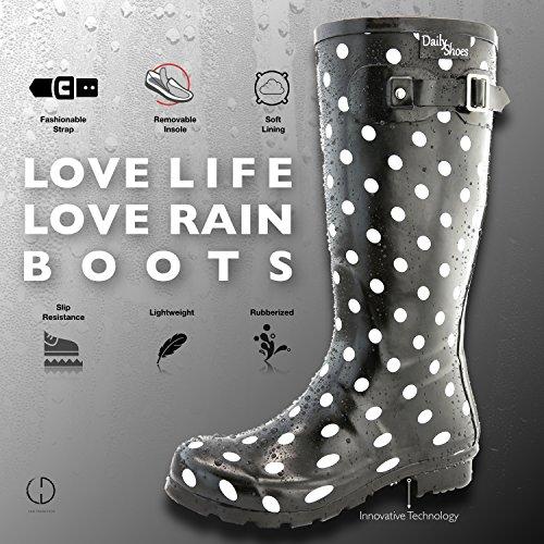 Black Knee Toe Rainboots High Calf Rain Round Mid Dot DailyShoes White Hunter Women's vwpWO