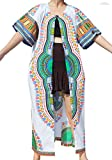 Raan Pah Muang Casual Outer Cloak Part Dress Bold Dashiki Ladies Dress Flow Robe, Large, New White Blue