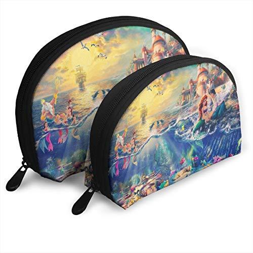 Romantic Ariel Makeup Bag Travel Bags Small Shell Bag Portable Toiletry Clutch Pouch 2Pcs