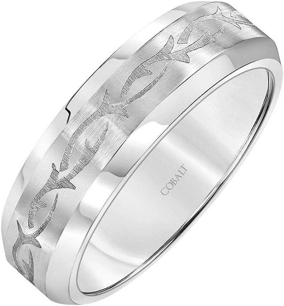Ring Size 10 Cobalt 7mm Band with Black Laser Engraved Braid Design Size 10
