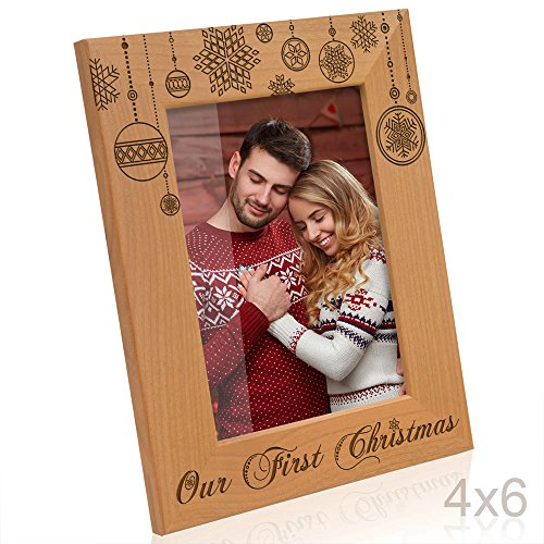 Kate Posh - Our First Christmas Engraved Natural Wood Picture Frame - First Christmas Together Gifts, First Christmas as Husband and Wife, Gifts for Newlyweds, for couples - Frame Picture Christmas First