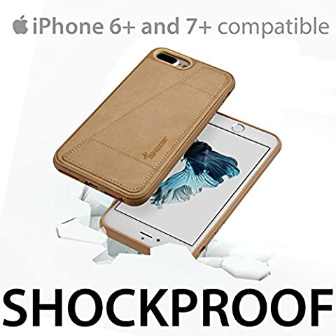 iSkipper iPhone Wallet Protective Case, Shockproof Hybrid, PC & TPU, with PU Back Leather - With RFID Protection Technology - Universal For iPhone 6 Plus, 7 Plus - 1 Credit Card Slot - (Platinum Brand Iphone 6 Plus Case)