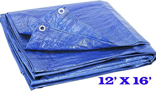 Blue Multi-Purpose Reinforced Tarp, Lightweight Poly Tarpaulin Cut Size 12'x16' Feet Finished Size 11'4