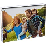 SimbaLux Magnetic Acrylic Picture Photo Frame 5x7 inches, Clear Glass Like, Double Sided Frameless Desktop Floating Display, Free Standing, Easy Change, for Family, Postcards, 5'' by 7'', 2.4cm Thick