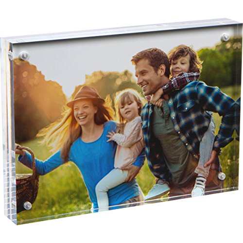 SimbaLux Magnetic Acrylic Picture Photo Frame 5x7 inches, Clear Glass Like, Double Sided Frameless Desktop Floating Display, Free Standing, Easy Change, for Family, Postcards, 5