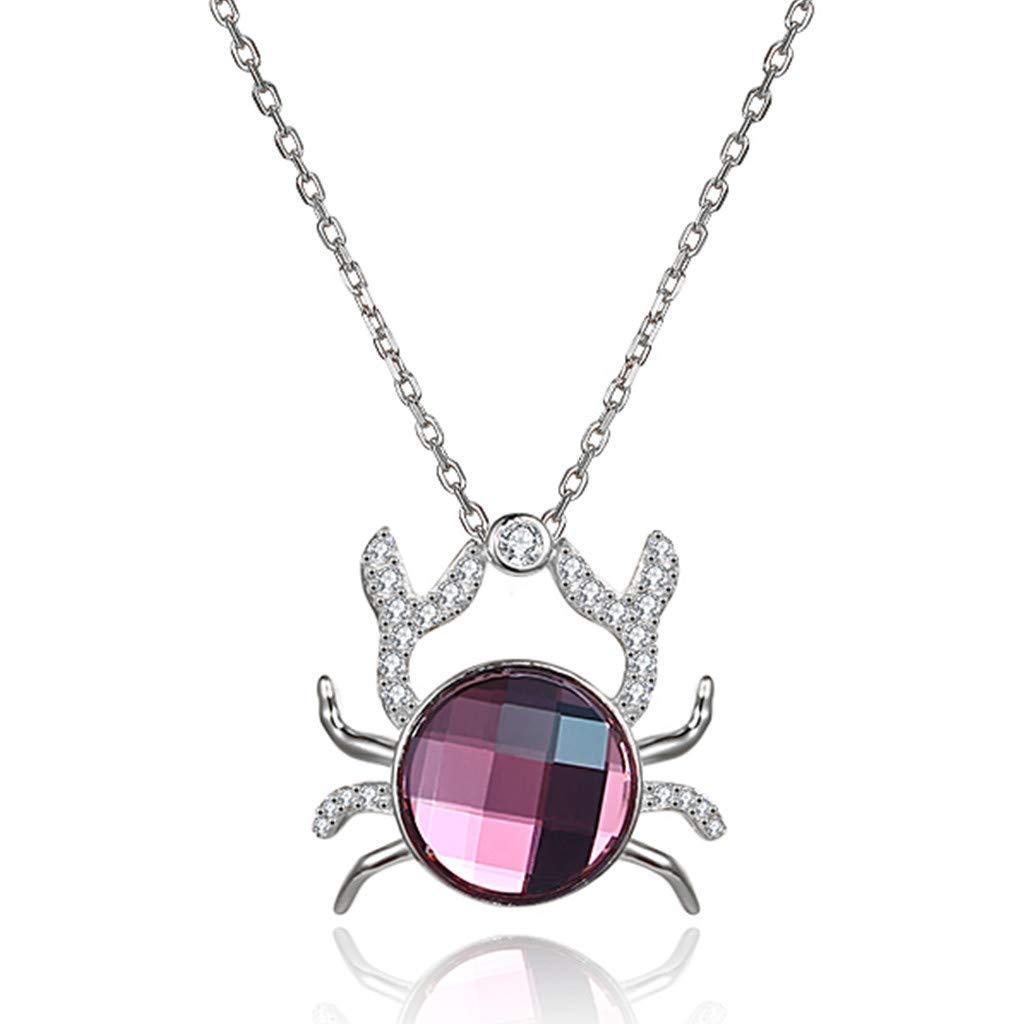 Xmasdeer Crab Crystal Necklace Silver Birthstone Jewerly My Dear Fun Gift for Girl Daughter Teens by Xmasdeer