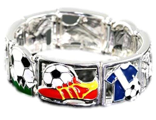 Silver Soccer Uniform - Soccer Mom Charm Stretch Bracelet C13 Cuff Silver Tone Uniform Ball Shoe Sports