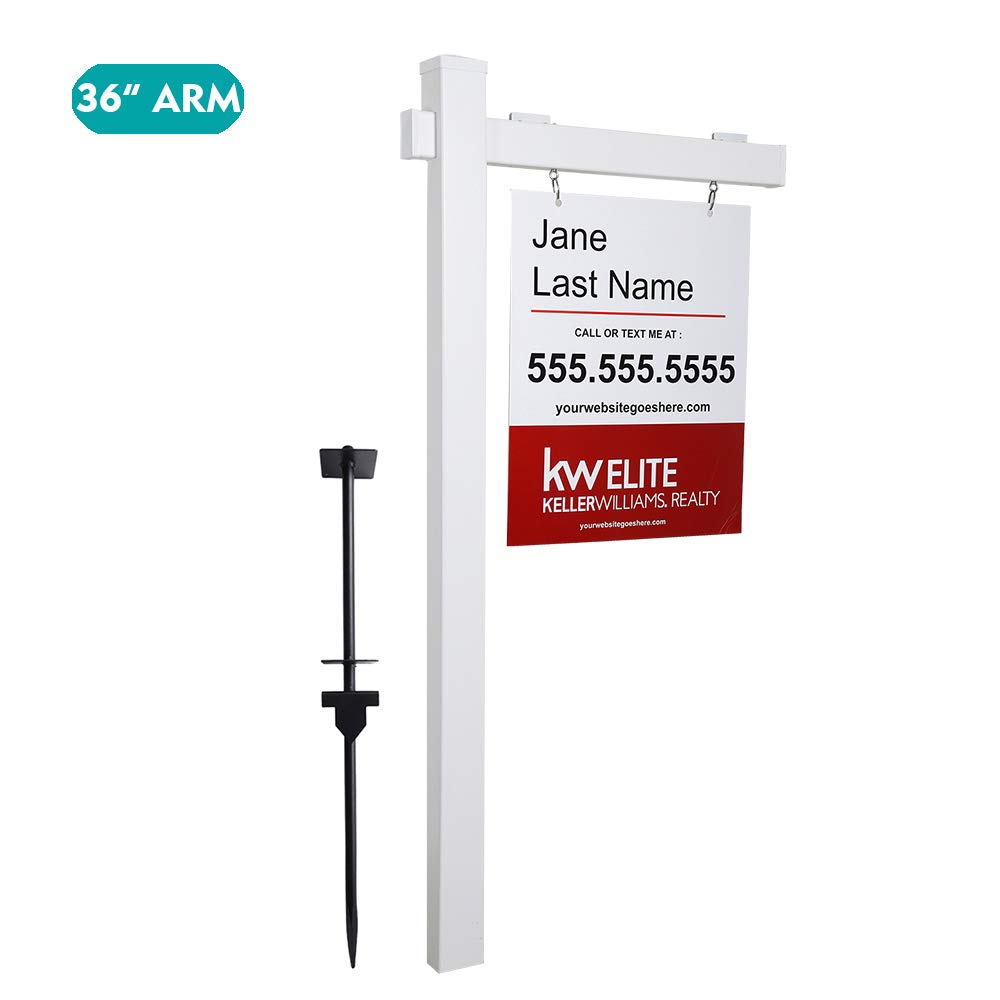 kdgarden Vinyl PVC Real Estate Sign Post 6ft. Tall (4''x 4''x 72'') Realtor Yard Sign Post for Open House and Home for Sale, 36'' Arm Holds Up to 24'' Sign, White with Flat Cap(No Sign) by kdgarden (Image #1)